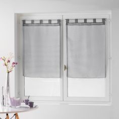 Dandy Pair Of  Woven Look Voile Blinds With Tab Top - Silver Grey