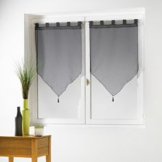 Effie Pair Of Plain Woven Effect Tassel Voile Blinds With Tab Top - Grey