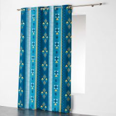 Ethnic Print Geometric Ready Made Single Eyelet Curtain Panel  - Blue