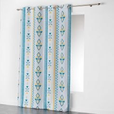 Ethnic Print Geometric Ready Made Single Eyelet Curtain Panel  - White