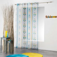 Ethnic Print Geometric Eyelet Voile Curtain Panel - White