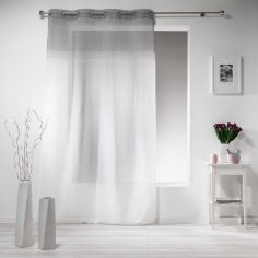 Embrun Ombre Striped Eyelet Voile Curtain Panel - Silver Grey