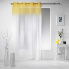 Embrun Ombre Striped Eyelet Voile Curtain Panel - Yellow