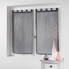 Filiane Pair Of Delicate Striped Applique Blinds With Tab Top - Charcoal Grey