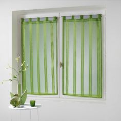 Bandas Pair Of Striped Voile Blinds With  Tab Top - Lime Green