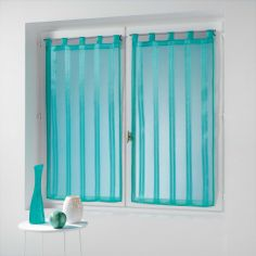 Bandas Pair Of Striped Voile Blinds With  Tab Top - Ocean Blue