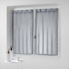 Bandas Pair Of Striped Voile Blinds With  Tab Top - Silver Grey