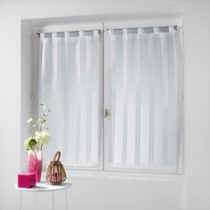 Bandas Pair Of Striped Voile Blinds With  Tab Top - White