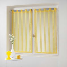 Bandas Pair Of Striped Voile Blinds With  Tab Top - Yellow