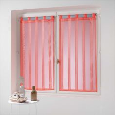 Bandas Pair Of Striped Voile Blinds With  Tab Top - Coral Pink
