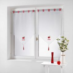 Pair Of Embroidered Voile Tassel Blinds With  Tab Top - Cherry Red