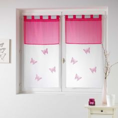 Pair Of Butterfly Embroidered Striped Top Voile Blinds With  Tab Top - Fuchsia Pink