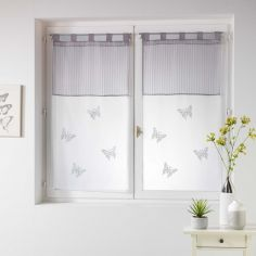 Pair Of Butterfly Embroidered Striped Top Voile Blinds With  Tab Top - Silver Grey