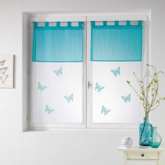 Pair Of Butterfly Embroidered Striped Top Voile Blinds With  Tab Top - Blue