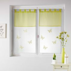 Pair Of Butterfly Embroidered Striped Top Voile Blinds With  Tab Top - Lime Green