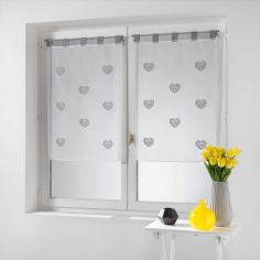 Cory Hearts Pair Of Embroidered Voile Blinds With  Tab Top - Grey