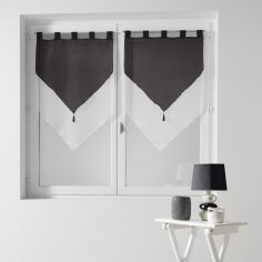 Pair Of Two Tone Contrast Tassel Voile Blinds With Tab Top - Black & White