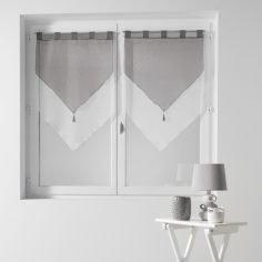 Pair Of Two Tone Contrast Tassel Voile Blinds With Tab Top - Silver Grey & White