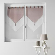 Pair Of Two Tone Contrast Tassel Voile Blinds With Tab Top - Beige & White