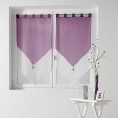 Pair Of Two Tone Contrast Tassel Voile Blinds With Tab Top - Purple & White