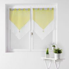 Pair Of Two Tone Contrast Tassel Voile Blinds With Tab Top - Lime Green & White