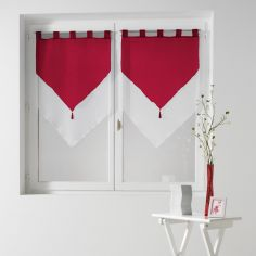 Pair Of Two Tone Contrast Tassel Voile Blinds With Tab Top - Red & White