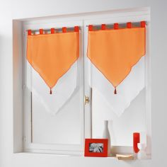 Pair Of Two Tone Contrast Tassel Voile Blinds With Tab Top - Orange & White