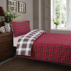 Red Check Tartan Thermal Flannelette Reversible Duvet Cover Set