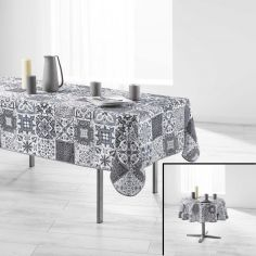 Persane Patchwork Polyester Tablecloth - Silver Grey