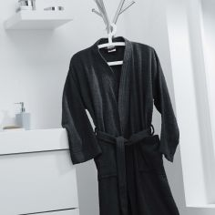 Vitamine Plain 100% Cotton Bathrobe - Black