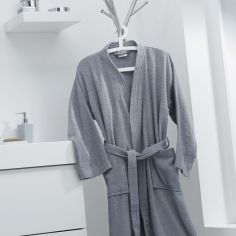 Vitamine Plain 100% Cotton Bathrobe - Silver Grey