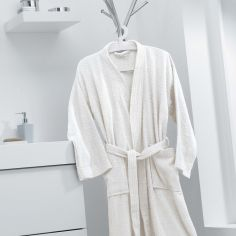 Vitamine Plain 100% Cotton Bathrobe - Ivory