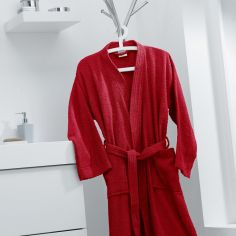 Vitamine Plain 100% Cotton Bathrobe - Red
