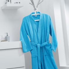 Vitamine Plain 100% Cotton Bathrobe - Blue