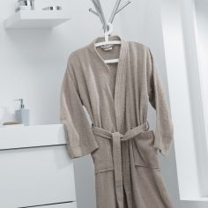 Vitamine Plain 100% Cotton Bathrobe - Natural