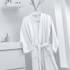 Vitamine Plain 100% Cotton Bathrobe - White