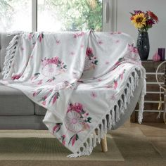 Bohemia Floral Flannel Throw with Fringe - Pink