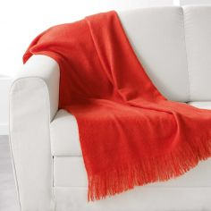 Shelly Acrylic Throw with Tassells - Orange