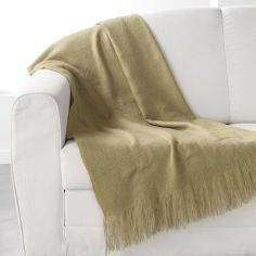 Shelly Acrylic Throw with Tassells - Sage Green