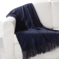 Shelly Acrylic Throw with Tassells - Navy Blue