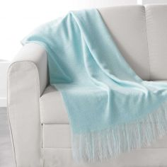 Shelly Acrylic Throw with Tassells - Mint Blue