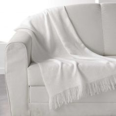 Shelly Acrylic Throw with Tassells - White