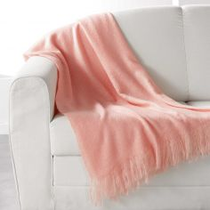 Shelly Acrylic Throw with Tassells - Coral Pink