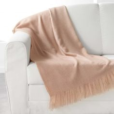 Shelly Acrylic Throw with Tassells - Beige