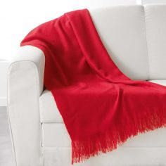 Shelly Acrylic Throw with Tassells - Red