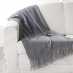 Shelly Acrylic Throw with Tassells - Grey