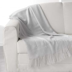 Shelly Acrylic Throw with Tassells - Silver Grey