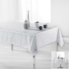 Luxury Quadris Geometric Tablecloth - White with Silver Metallic Print