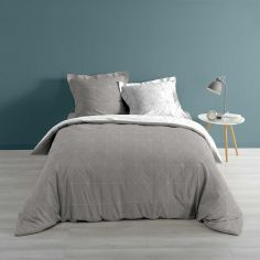 Luxury Quadris Geometric Grey 100% Cotton Duvet Cover Set with Silver Grey Metallic Print