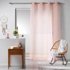 Galoni Eyelet Voile Curtain Panel with Pom Pom Edging - Pale Pink